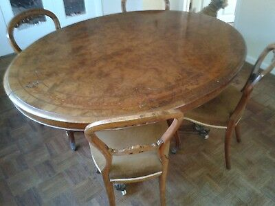 Antique Oval Dining Table and 4 Chairs