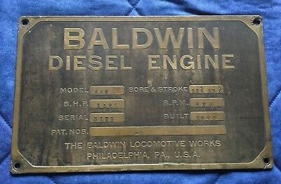 Rare Brass Baldwin Diesel Engine Locomotive Builder Plate - 606 / 5179 - 1949