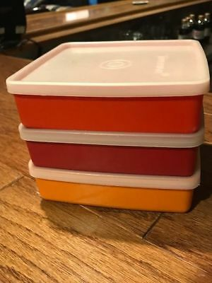 3 Vintage Tupperware Square-A-Way 670 Sandwich Keepers Lids Harvest 671 autumn