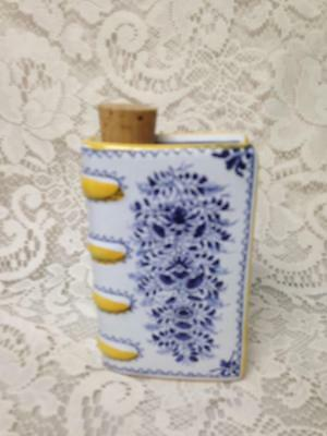 Vintage, Rare, Portugal, Blue and White  6in T Ceramic Flask With Writings