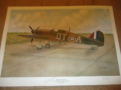 Wwii Fighter Hawker Hurricane Signed By John Ficklen & Robert Stanford Tuck