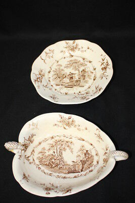 2 Antique Masons Watteau Brown Ironstone China, Dragon Serving Dish & Cake Stand