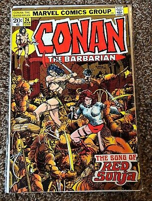 CONAN THE BARBARIAN #24 - 1st Full App RED SONJA - last Barry Smith Issue - 1972