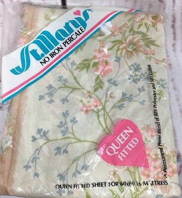 Vtg. St. Mary's Queen Fitted Floral Sheet NOS No Iron Percale Wildflowers Floral