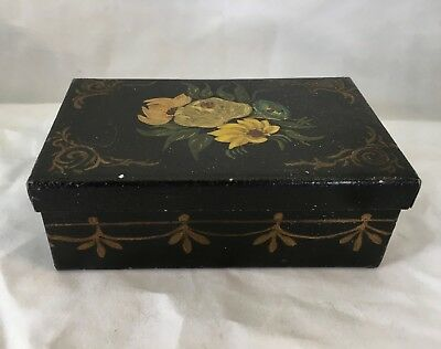 Antique tole Painted Metal Box Hinged Lid