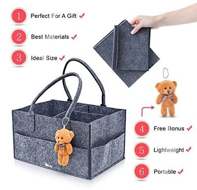 Great Gift Diaper Caddy/Storage Toys Tote With Bonus Teddy