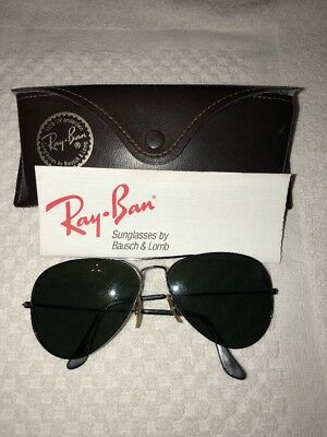 Ray-ban Bausch & Lomb Vintage Aviator Sunglasses 58-14 & Brown Leather Case
