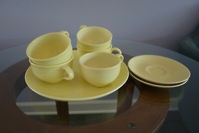Russel Wright Iroquois Cups Saucers and Plate  in Lemon Yellow