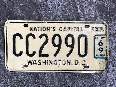 1969 Washington DC NATIONAL'S CAPITAL License Plate #CC2990 District of Columbia