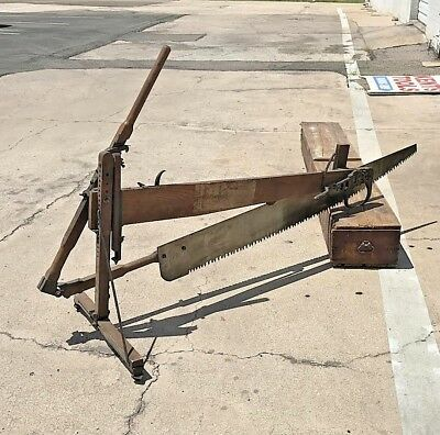 Museum Quality Folding Sawing Machine, Complete,Box, 1 Person Tree Saw, >1889