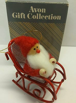 Frolicking Santas Santa In A Rocking Chair Avon Collection Christmas Ornament