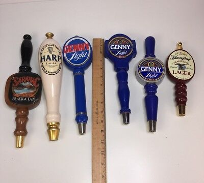 Lot Of 6 Beer Pulls Tap Handles Genny Light Harp Lager AS-IS