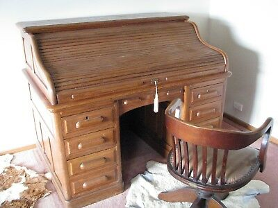 Antique Oak Roll top desk C1910