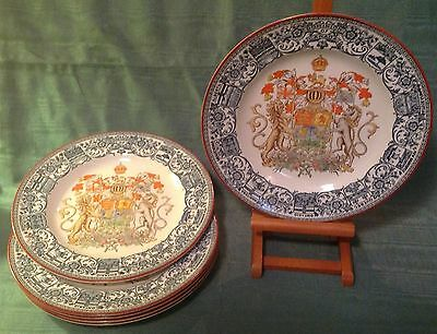 Six (6) Antique Wedgwood Transferware Dominion of Canada Dinner Plates