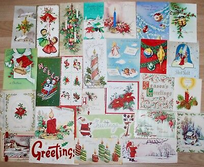 56 Used Vintage Christmas Greeting Cards Lot 1940's 1950's & 1960's
