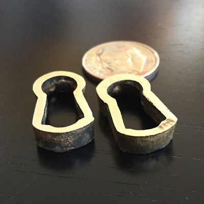 Two (2) Vintage Solid Brass Keyhole Inserts Liners Escutcheons Matching Pair