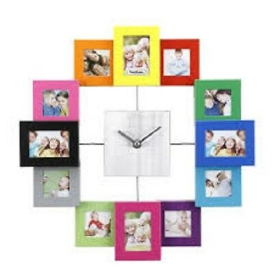 New Colourful Modern Von Haus Clock With 12 Photo Family Frame