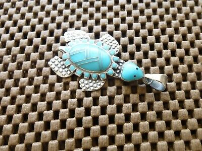Native American Sterling Silver Turquoise Channel Inlay Turtle Pendant Signed