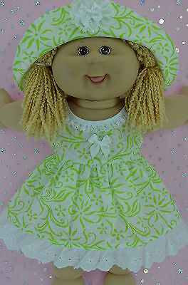 """Play n Wear Doll Clothes To Fit 16"""" Cabbage Patch WHITE/LIME FLOWER DRESS~HAT"""