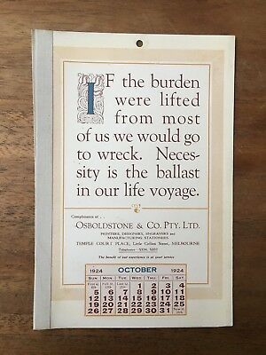 Antique October 1924 Calendar Osboldstone Co Melbourne Printer Vintage Card