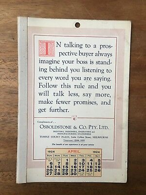 Antique April 1924 Calendar Osboldstone Co Melbourne Printer Vintage Card