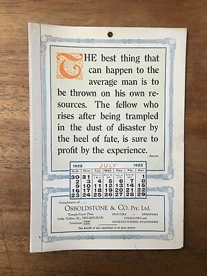 Antique July 1922 Calendar Osboldstone Co Melbourne Printer Vintage Card