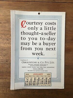 Antique January 1923 Calendar Osboldstone Co Melbourne Printer Vintage Card