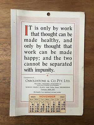 Antique November 1923 Calendar Osboldstone Co Melbourne Printer Vintage Card