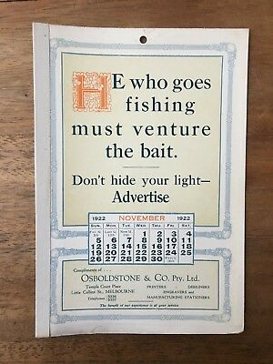 Antique November 1922 Calendar Osboldstone Co Melbourne Printer Vintage Card