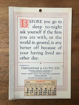 Antique March 1924 Calendar Osboldstone Co Melbourne Printer Vintage Card