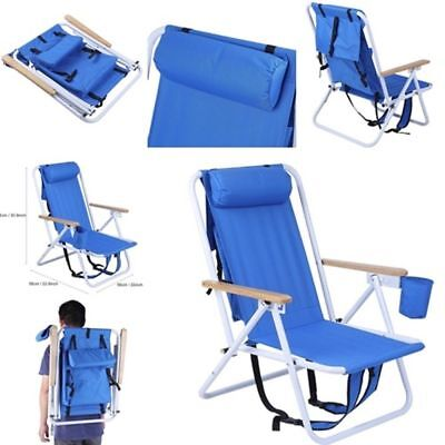 Reclining Backpack Folding Beach Chair Blue Solid Portable Outdoor Seat Foldable