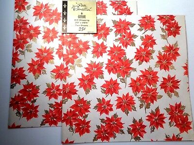 VTG CHRISTMAS WRAPPING PAPER GIFT WRAP~Petite Poinsettia~1950's~20x28 sheet~VGC