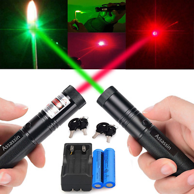 30Mile Visible Beam Green/Red/Blue Purple Lazer Pen 18650Battery Charger Pet Toy