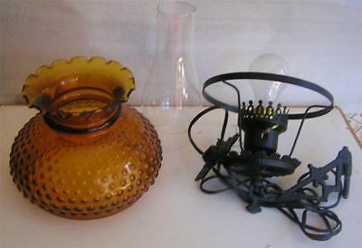 Vintage Lamp With Old Cast Iron Wall Bracket Amber Hobnail Shade Ruffled Top