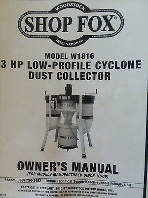 Shop Fox W1816 3 Hp Low-Profile Cyclone Dust Collector With Ducting. Great Cond.