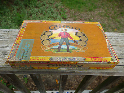 "Antique 1907 Certified Cremo Cigar Box 9 1/8"" wide Factory No, 117 Dist. S.C. 25"