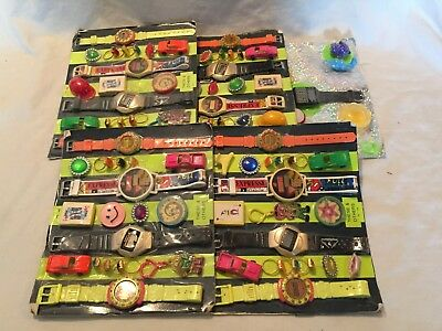 VINTAGE 1980s RARE Rack Toy Watches Vending Machine Display Cards Lot COOL