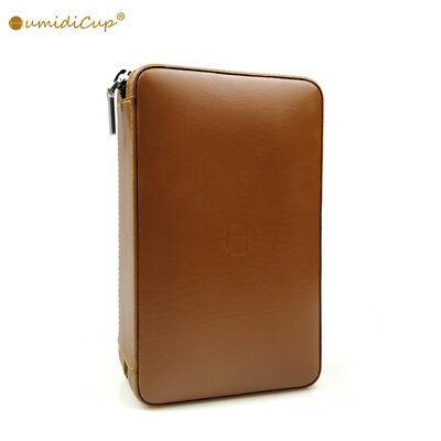 Brown Leather Travel Portable Cigar Case Humidor 4 Count W/ Cutter & humidifier