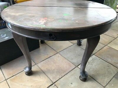 Old Vintage/antique round timber oak extension dining table - provincial