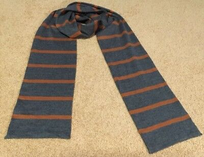 Pure wool striped scarf in grey and rust