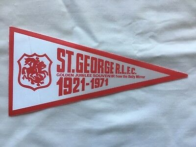 NRL St George Dragons Very Rare Vintage 1971 Daily Mirror Promotional Pennant