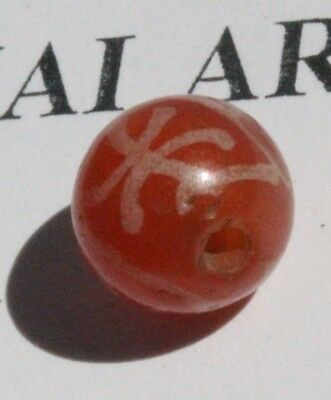 Ancient Pyu Kushan Etched Agate Carnelian Longevity Pattern High Contrast 9Mm