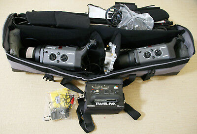 2x BOWENS GM500 Flash Lights & Stands + TRAVEL PAK Mobile Studio Travelpack