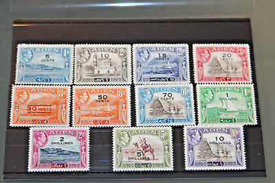 Aden - 1951 Currency Surcharges - Compete Set Of 11 - All Mint
