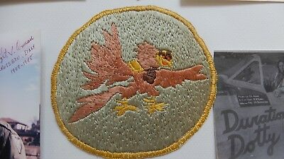 WWII original grouping 12 AF/ 65 FS named  1 cloth 2 leather patches
