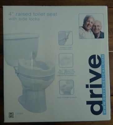 "Quality Raised Toilet Seat Without Lid in 4"" with Side Locks by Drive Medical"
