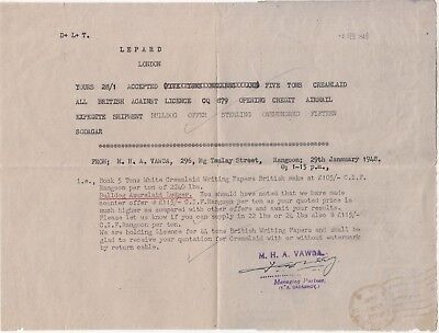 Burma: Air Letter; Y.A. Dadabhoy, Rangoon-London re paper contracts, 30 Jan 1948