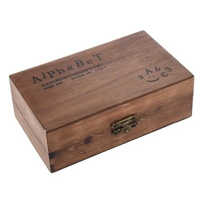 Pack of 70pcs Rubber Stamps Set Vintage Wooden Box Case Alphabet Letters Numb N1