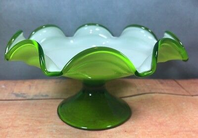 Cased Glass Compote/ Candy Dish Lime Green Footed Base With White Interior 13E