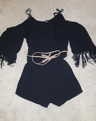 Ladies Black Fringe Tassel Belted Playsuit Size Large 14 Festival